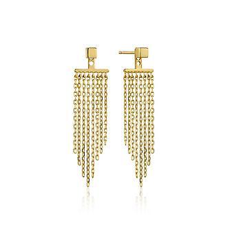 Ania Haie Sterling Silver Shiny Gold Plated Fringe Fall Ear Jacket Earrings E013-05G