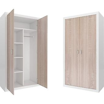 Kleiderschrank - 90x190x50 cm - weiß/kiefer - 5 Regale - 2 Türen