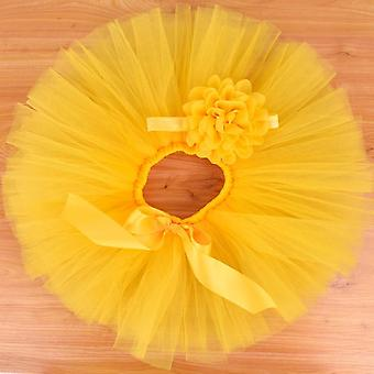 Yellow Baby Girls Fluffy Tutu Skirt & Headband Set Newborn Photo Prop Birthday Tulle Tutus Outfit  For 0-12m
