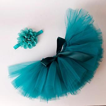 Solid Baby Fluffy Tutu Skirt & Headband Set- Nouveau-né Photo Prop, Costume Infant
