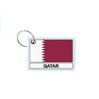 Porte cles cle clefs imprime double face drapeau Q qatar