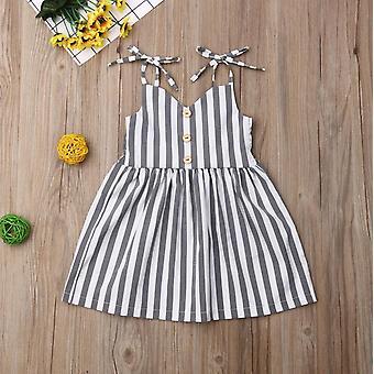 Pudcoco Letní batole dětské oblečení, bez rukávů pruhované popruh šaty- outfit