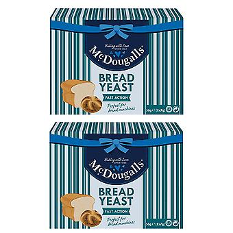 2 x 56g McDougalls Bread Dry Yeast Fast Acting Bread Loaf Rolls Bagel Baking