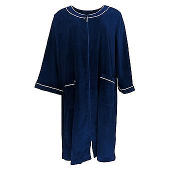 Aria Women's  Robe Navy Blue Full Zip Polyester 637-157