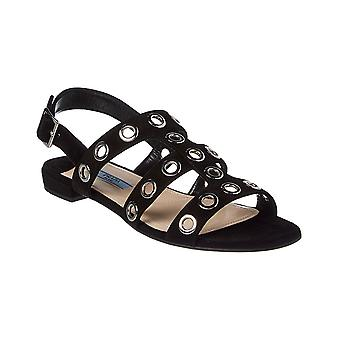 Prada women's flat sandals in black suede