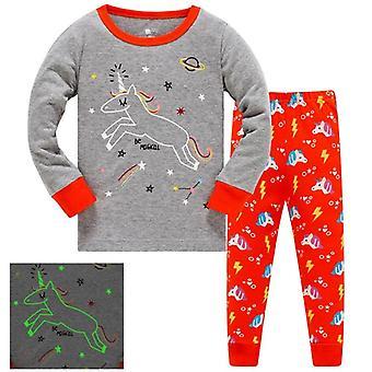 Pojat/tytöt Valoisa Dinosaur Puuvilla Pyjama-setti