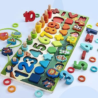 Montessori vzdelávacie drevené hračky deti obsadené doska Matematický rybolov Deti's Drevené Škôlka Montessori Počítanie hračiek Geometria