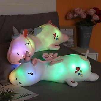 חמוד זוהר LED אור חד קרן קטיפה צעצועים חמוד זוהר חיה חד קרן כרית ממולאים בובות לילדים מתנות