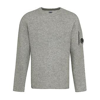 C.p. company sweatshirt men's grey melange lambswool lens sweater