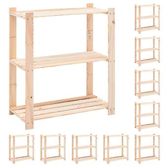 Storage shelves 3 floors 10 pcs. 80x38x90cm solid wood pine 150kg