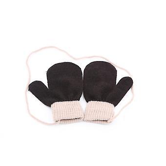Handschuhe m. String Kinder 1-4 Jahre Dunkelbraun