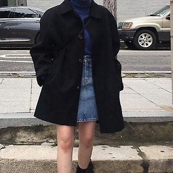 Women Wool Coat, Long Sleeve Single Breasted Down Female Winter Outwear