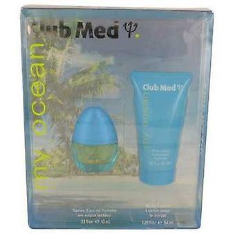 Club Med My Ocean By Coty Gift Set -- .33 Oz Mini Edt Spray + 1.85 Oz Body Lotion (women) V728-534909