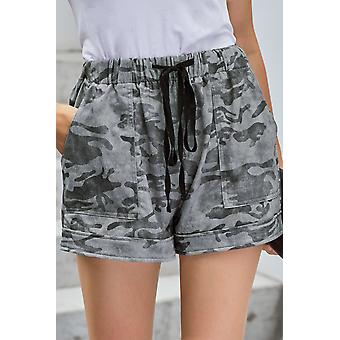 Grau Camouflage Print Drawstring elastische Taille Pocketed Casual Shorts