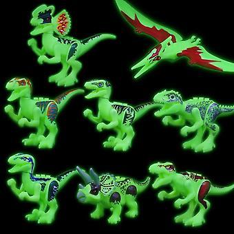 8kpl / set lohkot Jurassic Dinosaur Blocks Rakennuspalikat Malli tiilet