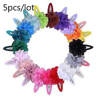 Baby Mini Chiffon Flowers Hair Clips, Sweet Hairpins Accessories