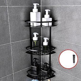 Uzay Alüminyum Banyo Rafı Delme Duş Mutfak Depolama Sepeti Yok