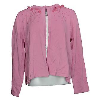 Isaac Mizrahi En direct! Women's Sweater Embellished Open Cardigan Rose A389128
