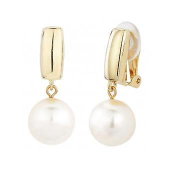 Traveller Drop Clip Earrings With White 12mm Pearl 22ct Gold Plated - 113718 - 392