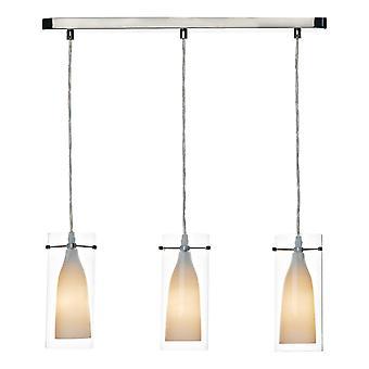 DAR BODA Straight Bar Anhänger Licht Satin Chrom Doppelglas, 3x E14