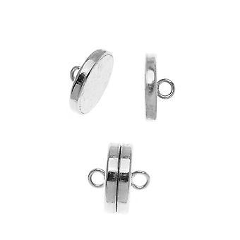 Beadsmith Magneettiset klapit, Litteä Pyöreä 10mm, 2 sarjaa, Hopeapinnoitettu