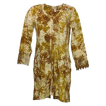 LOGO by Lori Goldstein Women's Top Tie-Dyed Duster w/ Lace Brown A375050