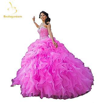2019 Νέα αγαπημένη μπάλα φόρεμα Quinceanera φορέματα με κρύσταλλο χάντρες πούλιες