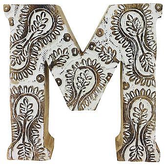 Letter M Hand Carved Wooden White Flower