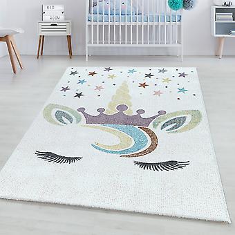 Tappeto per camere per bambini FORTUNA Pila corta Unicorno tappeto per bambini Corona stella colorata
