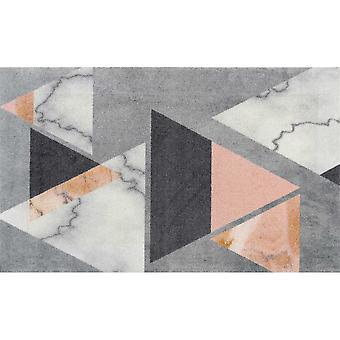 Velvet Marble Abstract Floor Mats In Grey