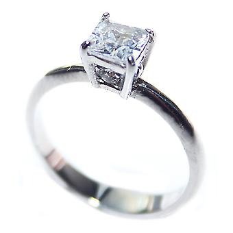 Ah! Jewellery Women's Princess Cut 8.5mm Simulated Diamond, Stainless Steel Ring Stamped 316.