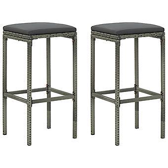 vidaXL bar stool with cushion 2 pcs. Grey Poly Rattan