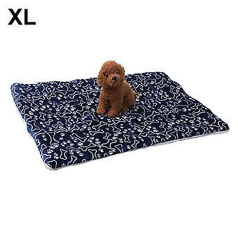 (Ossos azuis) Tapete de sono de almofada de pelúcia quente para canil