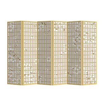 Fine Asianliving Room Divider Privacy Screen 6 Panneaux W240xH180cm Fleurs japonaises Naturelles