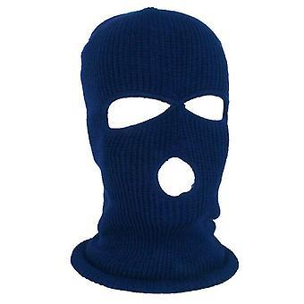 (כחול כהה) מסכת סקי פנים מלאה כובע חורף 3 חור Balaclava כובע כובע הוד כובע טקטי חם