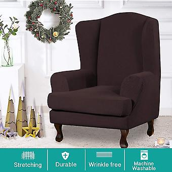 Stretch jacquard wingback chair covers slipcovers wing chair covers (base cover plus seat cushion cover, brown)