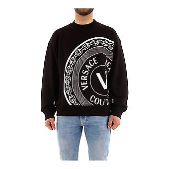 Versace Jeans Couture Cotton V-emblem Print Black Sweatshirt