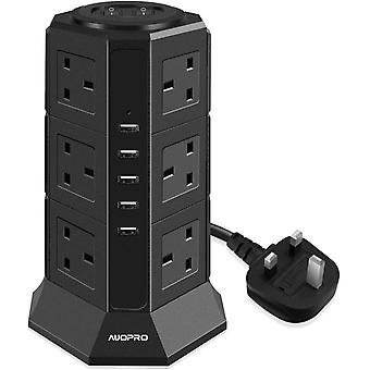 AUOPRO Surge Protector Extension Lead with USB Slots, Vertical Tower Power Strip Switched Desktop