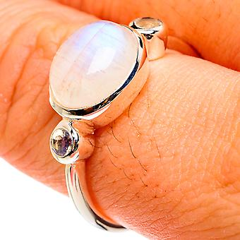 Rainbow Moonstone Ring Size 9 (925 Sterling Silver) - Handmade Boho Vintage Jewely RING77603