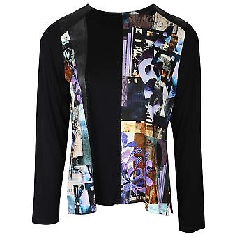 Tinta Style Black Long Sleeve Round Neck Top With Printed Design