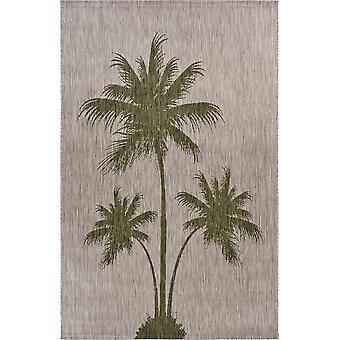 5' x 7' Green Palm Tree Indoor Outdoor Area Rug