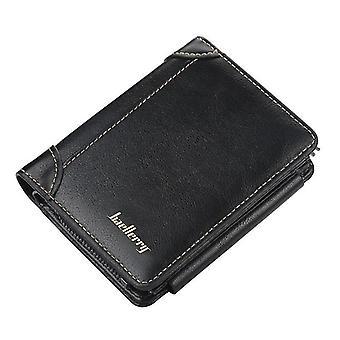 Lompakot rahaleikkeet musta nahka miesten lompakko vetoketju lyhyt kortin haltija miesten lompakko retro kolikko kukkaro 12cm * 10cm * 2.5Cm