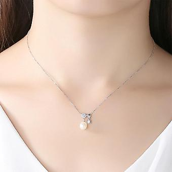 Luxury Brand New 925 Silver Necklace Natural Freshwater Pearl Pendant Necklace  Gift|Necklaces