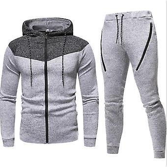 Gemdeck Men's Survêtement Set Camouflage Sweatshirt Jogger Sweatpants Solid Patchwork Warm Sports Suit