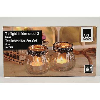 Sæt 2 klart glas Tealight Candle indehavere For Dinner Party service