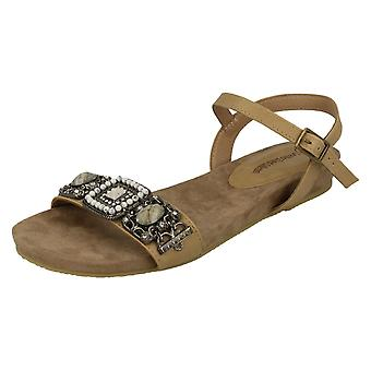 Ladies Leather Collection Flat Mule Sandals F00019
