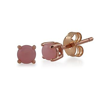 Gemondo Pink Opal Round Stud Earrings In 9ct Rose Gold 3.50mm Claw Set