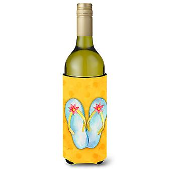 Flip Flops gelbe Polkadot Wein Flasche Beverge Isolator Hugger