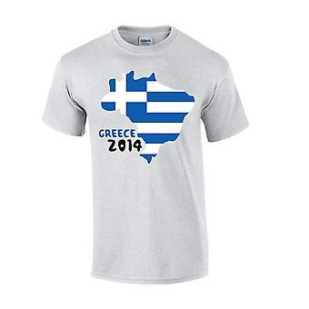 ग्रीस 2014 देश ध्वज टी शर्ट (ग्रे)