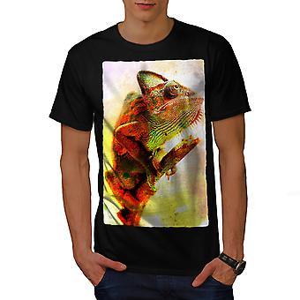 Chameleon Wild Art Men BlackT-shirt | Wellcoda